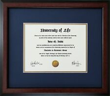 Walnut Wood Frame with Blue and gold mats for Diploma Certificate Document