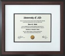 Walnut Wood Frame with Off-white and black mats for Diploma Certificate Document