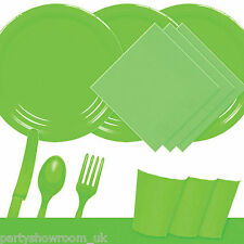 Kiwi Green Tableware Party Table Cover Napkins Cups Cutlery Plates PS