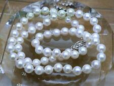 STUNNING GIFT 7-7.5mm AAA+ fine round white akoya pearl necklace 14K solid gold