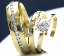 316L Stainless Steel Engagement Wedding 0.84 ct Clear Solitaire CZ Band Ring Set