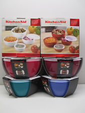KitchenAid  Set of four (4) prep bowls with lids in blue, green, purple, orange
