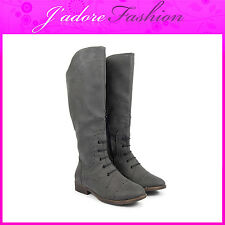 NEW LADIES FLAT HEEL KNEE HIGH ZIP UP LACE UP ARMY LONG BOOTS SIZES UK 3-8