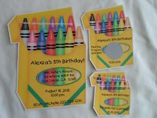 UNIQUE CRAYON THEMED BIRTHDAY PARTY INVITES, FAVOR TAGS, LOTTO GAME, CANDY LABEL