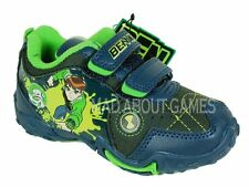 BEN 10 TRAINERS * VELCRO FASTENING * BOYS  / KIDS Shoes * Black / Blue Colour