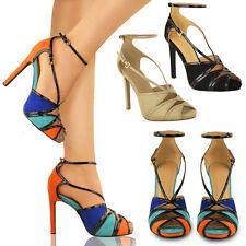 LADIES WOMENS HIGH HEELS PARTY EVENING PEEP TOE ANKLE STRAP SANDALS SHOES SIZE