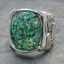 Green Foil Opal Glass Cabochon Sterling Silver Wire Wrapped Ring ANY Size