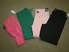 Womens Popular Sports Capris Sweatpants XS Small Medium LG Pink Brown Green NEW