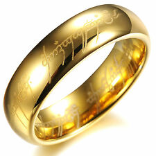 The Lord Of  The Rings 18K Gold Plated Tungsten Steel Ring Fashion Finger Band