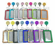 2 in 1 Multi Color Vertical Badge Holder with Swivel Clip Badge Reel