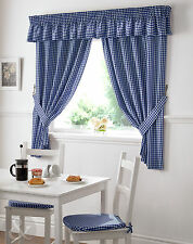 Gingham Check Kitchen Curtains Ready Made Pencil Pleat Navy Blue Net Curtain