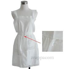 Cosplay Costume Apron, Lolita Apron w/ Lace, Pure White Restaurant Bar Apron