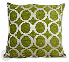 Retro Modern Chenille Cushions - Green Small and Large Scatter Cushion Covers