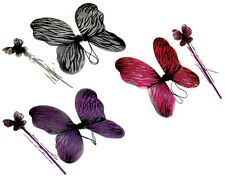 Fairy wings and wand, black with coloured glitter, fuschia, purple or silver