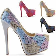 NEW WOMENS CONCEALED PLATFORM LADIES STILETTO HIGH HEELS LADIES COURT SHOES SIZE