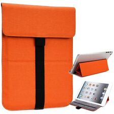 Mini Kroo Leather Tablet Sleeve Pouch Case Cover Guard with Built in Stand Orang