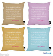 "AUDREY HEPBURN I LOVE PEOPLE WHO MAKE ME LAUGH QUOTE CUSHION 18"" GREAT GIFT"