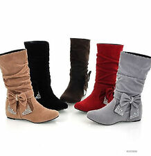 Cute Autumn Women's Low Heel Mid-Calf Bowknot Boots Shoes US All Size YB017