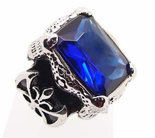 Men's Silver Dragon Claw Sapphire CZ 316L Stainless Steel Biker Ring Size 8-13
