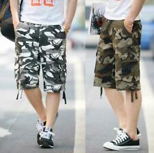 Mens Military Army Camouflage Woodland Work / Camp Shorts Cargo Pants 3 Colors