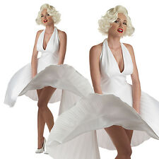 ADULT LADIES DELUXE MARILYN FANCY DRESS COSTUME MONROE HOLLYWOOD WHITE OUTFIT