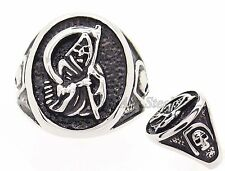 Mens Grim Reaper Skull Stainless Steel Ring US Size 8,9,10,11, 12, 13