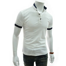 (DK42) TheLees Slim Fit Stripe Button Down China Collar Short Sleeve Tshirts