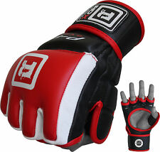 Auth RDX Leather MMA UFC Grappling Gloves Fight Boxing Punch Bag Cage Gear US