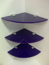 3 x PERSPEX ACRYLIC CORNER DISPLAY SHELVES FOR HOME, RETAIL, SALOONS & HOTELS