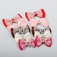 "100pc 1 1/2"" Boutique Bowtie Hair Bow with heart-shaped Bead Diamond Mix 5 Color"