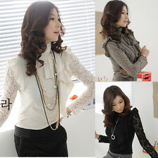 Womens Ladies High Neck Lace Flouncing Tops Long Sleeve T-Shirt Blouse 3 Colors