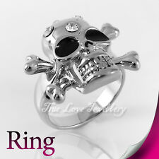 Cool 18K WGP Skull Ring Use Swarovski Crystal RP9578 Free Gift Pouch