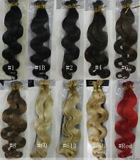 """22"""" 100S Stick Tip Bonded Fusion Micro Remy Human Hair EXTENSION Wavy & Deep"""