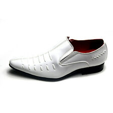 Mens Italian style Boy Men Patent Leather Look Spats Brogues Slip On Shoe  White