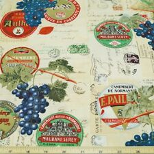 France Wine & Cheese 100% Cotton Fabric