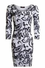 New Ladies 3/4 Sleeve Sequin Paiseley Print Women's Bodycon Smart Evening Dress