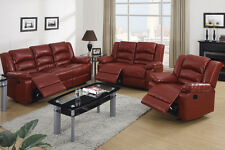 Burgundy Bonded Leather Recliner Motion Sofa Loveseat Set Chair Couch Reclining