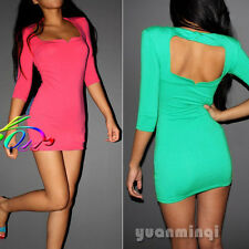 Novelty Sexy Women Backless 3/4 Sleeve Scoop Neck Bodycon Club Party Mini Dress