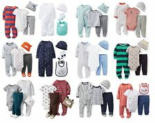 NEW NWT Boys Carter's Newborn 3 6 9 Months 4 Piece Set Pajamas Cap Pants Bib