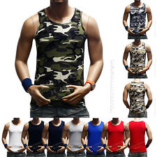 Men's Tank Top T-Shirt Muscle Camo Sleeveless Tee  A-Shirt  Bodybuilding Gym T