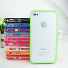 TPU Bumper Frame Case Cover w/Metal Button For iPhone 4 4S+Free Screen Protector