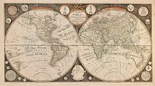1799 LARGE WORLD MAP OF CAPTAIN COOK DISCOVERIES DUAL HEMISPHERE Largest Sizes