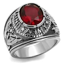 MEN'S STAINLESS STEEL UNITED STATES USA ARMY MILITARY RED CZ GULF SILVER  RING