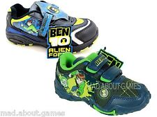 BEN 10 TRAINERS VELCRO FASTENING BOYS  / KIDS Black Lights Cartoons Characters