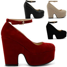 NEW LADIES THICK HEEL WEDGE PLATFORM  ANKLE STRAP ROUND TOE SHOES SIZES UK 3-8