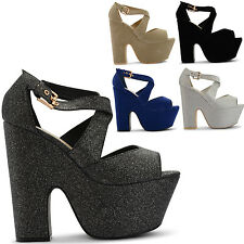 NEW LADIES HIGH THICK HEEL PLATFORM  ANKLE STRAPPY BUCKLE  SANDALS SIZES UK 3-8