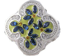 Sapphire Blue Flower Ring Size 5 6 7 8 9 10 Affordable Cubic Zirconia Jewelry