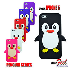 6 COLOUR NEW PENGUIN SOFT SILICONE RUBBER PHONE GEL CASE COVER FITS IPHONE 5 5S
