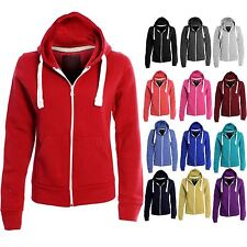 Women's Solid Plain Hoodie One Colour Zip Top Hooded Ladies Sweatshirt