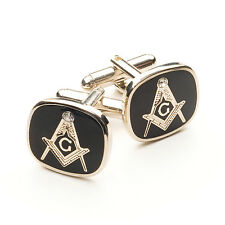 NEW Black & Silver Masonic G Cufflinks with white Stone High Quality Craft Gift
